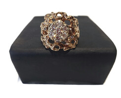 Yellow-tone Sterling Silver Mens Round Diamond Cluster Nugget Ring 0.11 Cttw